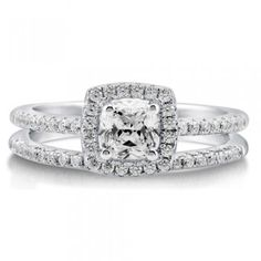 Cushion Cubic Zirconia Sterling Silver 2Pc Halo Bridal Ring Set .46 ct #r576-CL