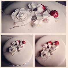 Winter wedding cake. Everything made of sugarpaste.