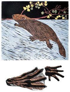 Beaver | Tracks in the Wild - Woodblock by Betsy Bowen Print Store, Woodblock Print, Printmaking, Folk Art, Beaver Creek, Carving, Framed Prints, Beavers, Block Prints