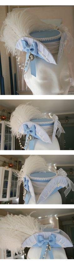 Blue, white, lace...  So beautifull tricorn!    Found here : http://imperialfiddlesticks.deviantart.com/art/A-Dream-of-Sovngarde-Mini-Tricorne-294243736