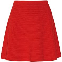 Theory Rortie textured stretch-knit mini skirt ($128) ❤ liked on Polyvore featuring skirts, mini skirts, faldas, red, pull on skirt, theory skirts, stretch knit skirt, short mini skirts and red skirt