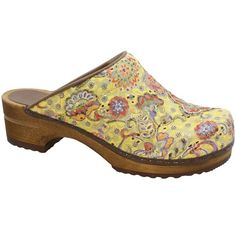 My gardening shoes. Wood Zina Open Back Clogs in Waterproof Yellow Fabric, rubber sole too!