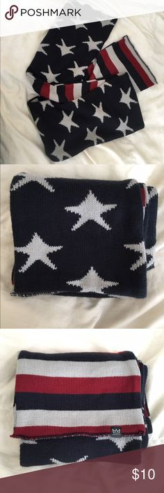 """American Stars and Stripes Knit Scarf American Stars and Stripes knit scarf. Striped side wtih stars reverse. Approx 66"""" x 8.5"""". 100% acrylic. Only worn once. Would be perfect for 4th of July! Accessories Scarves & Wraps"""