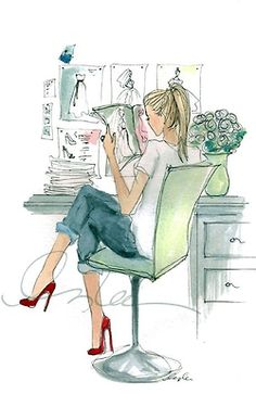 (c) Inslee Illustration Art And Illustration, Fashion Sketches, Fashion Illustrations, Art Illustrations, Drawing Fashion, Illustration Fashion, Art Sketchbook, Pink And Green, Fashion Art