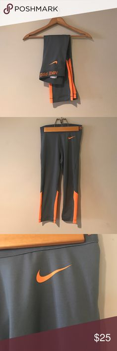 Neon Nike Pro Capris Great condition! No modeling. Tight fitting. No pilling. Tag says small  will fit a small or xs. 💟Outfit Inspiration: running, exercising , running errands, yoga. 👰Help my fiancé and I save up for our wedding! 📦All purchases are shipped carefully and thoughtfully  🚭Smoke- free home ❗️Bundle to save on SHIPPING & TOTAL  💁Serious and reasonable offers only (no more  than 10% of listing price!)  ✅Suggested User, shop with confidence 🚫NO TRADES 🔁️Sharing is caring…
