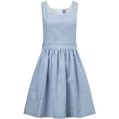 MacGraw Blue Cotton Striped Apron Dress (555 AUD) ❤ liked on Polyvore featuring dresses, gown, ruching dress, ruched dress, blue striped dress, stripe dress and striped dress