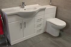 Luxury 1050 Bathroom Vanity Unit Btw Back To Wall Wc Toilet Cistern Tap Opts