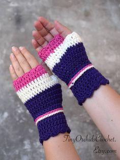 Crocheted wristwarmers in purple white and fuchsia, merino wool fingerless gloves, office gloves, striped wrist warmers by TinyOrchidsCrochet on Etsy