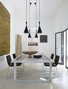 Like the lights #diningroom tables, chairs, chandeliers, pendant light, ceiling design, wallpaper, mirrors, window treatments, flooring, #interiordesign banquette dining, breakfast table, round dining table, #decorating