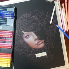 Beautiful girl sketch #drawing colored pencils #realistic black paper, Jennifer Healy Art