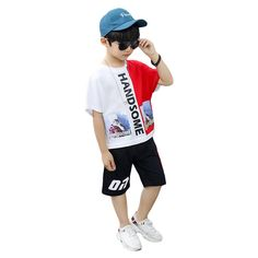 Big Children Short Sleeve Two-piece Hip Hop Basketball Clothing Sets is cheap, come to NewChic and buy the best cotton suits now! Hipster Outfits, Boy Outfits, Cute Outfits, Boys Summer Outfits, Kids Shorts, Sport Casual, Boys T Shirts, Girls Jeans, Outfit Sets