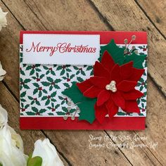 Christmas – Stamp It Up with Jaimie Poinsettia Cards, Christmas Poinsettia, Stampin Up Paper Pumpkin, Christmas Greenery, Hand Stamped Cards, Fancy Fold Cards, Winter Cards, Pretty Cards, Cool Cards