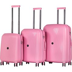 J World 'Vanesta' Polycarbonate Spinner Luggage 3-piece Set by J ...