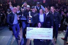 Celebrity chef Robert Irvine, New York Jets' Nick Mangold, Ralph Perrazzo of BBD's Beers Burgers Desserts as Pat LaFrieda's 2015 NYCWFF Burger Bash(R) Champion, Blue Moon People's Choice Award winner Chef Joe Isidori of Black Tap, musician Coolio, Rachael Ray, and NYCWFF Founder & Director Lee Brian Schrager celebrate onstage at the Blue Moon Burger Bash presented by Pat LaFrieda Meats hosted by Rachael Ray - Food Network & Cooking Channel New York City Wine & Food Festival presented by…