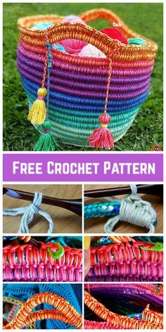 Most current Free of Charge Crochet basket rainbow Popular DIY Crochet Rainbow Rope Basket Free Pattern Crochet Shell Stitch, Crochet Rope, Crochet Yarn, Free Crochet, Crochet Stitches, Crochet Basket Pattern, Crochet Baskets, Knitting Patterns, Crochet Patterns