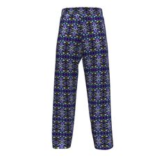 Artemis Clothing Jasper Pajamas made with Spoonflower designs on Sprout Patterns. Batik-like clematis design in purple, blue, teal, and yellow on Jasper Pajama bottoms.