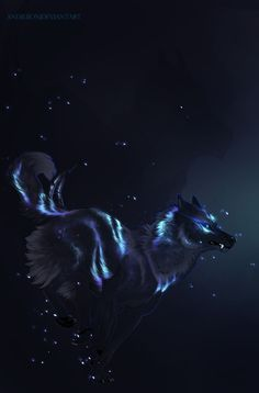 Cute Fantasy Creatures, Mythical Creatures Art, Magical Creatures, Fantasy Wolf, Dark Fantasy Art, Animal Espiritual, Anime Wolf Drawing, Shadow Wolf, Mystical Animals