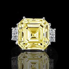 12ct. Asscher cut center set with double sided baguettes vintage canary ring simulated diamond-diamond veneer , Canary Rings - Diamond Veneer Jewelry, Diamond Veneer Jewelry