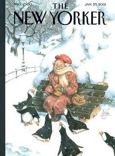 """The New Yorker - Monday, January 29, 2001 - Issue # 3922 - Vol. 76 - N° 44 - Cover """"Snowbirds"""" by Peter de Sève"""