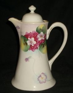 beautiful chocolate pots | Details about VINTAGE HAND PAINTED FLOWERS CHOCOLATE COFFEE TEA POT