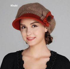 Warm winter flower newsboy cap for lady felt hats berets