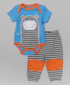 Look at this Blue & Gray 'Hipster' Bodysuit & Pants - Infant on #zulily today!