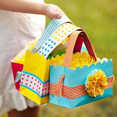 A-Tisket, A-Tasket    A spring-inspired basket is perfect for collecting Easter bounty. Candy dots make a sweet handle.