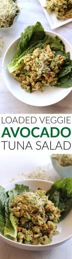 Loaded Veggie Avocado Tuna Salad is packed with avocado and veggies for the perfect healthy lunch!