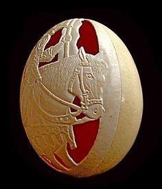 Egg art carving