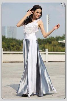 A Line Asymmetric Floor Length Silk Organza Evening Dress