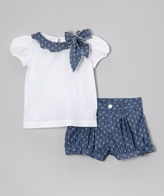Love this White Cap-Sleeve Top & Navy Shorts - Infant, Toddler & Girls by Fantaisie Kids on Frocks For Girls, Kids Frocks, Little Girl Dresses, Girls Dresses, Toddler Outfits, Kids Outfits, Kids Tops, Frock Design, Baby Sewing