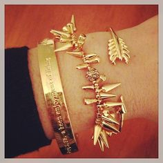 Gold! Renegade Cluster Bracelet and Gilded Arrow Bangle by Stella & Dot.