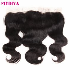 Mydiva Remy Hair Free Part Lace Frontal Closure 130% Destiny Human Hair Body Wave with Frontal Closure With Baby Hair 8-18Inch
