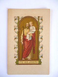 Antique French Holy Card - Saint Joseph - Ite ad Joseph - Go to Joseph