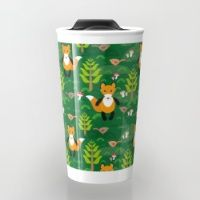 Travel Mug featuring Fox and birds in the forest by EkaterinaP