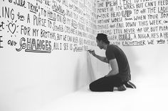 Tupac lyrics mural by Timothy Goodman Tupac Lyrics, Tupac Quotes, Timothy Goodman, Wall Drawing, Line Drawing, Sharpie Wall, Sharpie Doodles, Café Theatre, Hand Painted Walls
