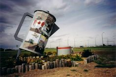 Davidson's famous 7.3-metre-high coffee pot situated on Highway 11 symbolizes the town's position as a hospitality centre.  Town, pop 1,035, located about midway between REGINA and SASKATOON on Hwy 11.  David McLennan