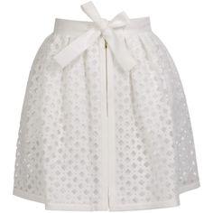 FENDI Laser-cut Cotton-silk Lattice Skirt (1.800 BRL) ❤ liked on Polyvore featuring skirts, saias, bottoms, fendi, white pleated skirt, pleated skirt, full pleated skirt and fendi skirt