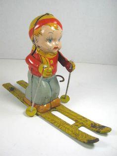 1940s Chein Ski Boy Tin Litho Wind Up