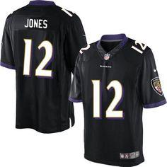 NIKE RAVENS #12 JACOBY JONES BLACK ALTERNATE MEN'S STITCHED NFL LIMITED JERSEY