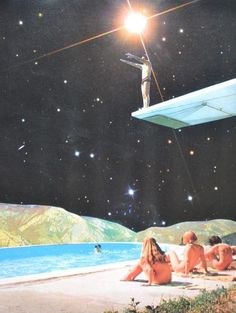 Diving Space by Djuno Tomsni,French artist Djuno Tomsni imagines the perfect summer vacation in outer space with his hand-made collages from vintage holiday brochures and photo albums. Art Du Collage, Surreal Collage, Collage Illustration, Surreal Art, Digital Collage, Space Illustration, Digital Art, Photomontage, Collages