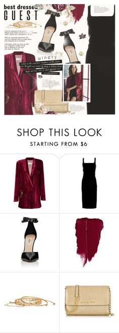 """""""Best Dressed Guest: Winery"""" by monazor ❤ liked on Polyvore featuring EMANNUELLE JUNQUEIRA, Moschino, Valentino, Michael Kors, Napier, napa, winerywedding, bestdressedguest and vineyardwedding"""