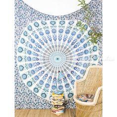 Eyes of India - Large Queen Green White Ombre Mandala Wall Hanging Tapestry Bedspread Beach Blanket Boho Chic Bohemian Accent Indian Handmade Elephant Tapestry, Dorm Tapestry, Blue Tapestry, Mandala Tapestry, Tapestry Wall Hanging, Tapestries, Colorful Tapestry, Hanging Fabric, Mandala Art