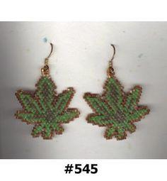 Cannabis Pot MaryJane Marijuana Leaf Beaded Earrings by SuVasi, $18.00