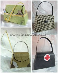 Stampin Up new purse die samples.  Just adorable! Fishing satchel, Dr's little black bag, Diaper bag, purse.