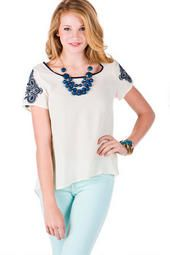 Bretagne Embroidered Top, love the print on the sleeve.