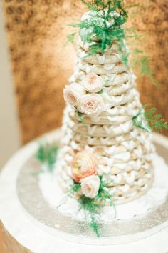 Layered white wedding cake |  Photo by J Bird Photography | Read more - http://www.100layercake.com/blog/?p=76549