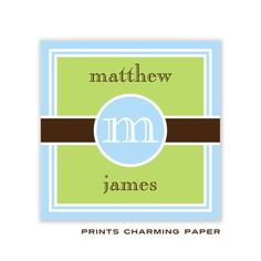 Prints Charming Paper | Blue and Green Initial Band Enclosure Card