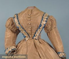 Tan silk faille dress with French blue and blonde lace trim (front bodice detail), French, 1860s. Part of a wedding ensemble (skirt, bodice, Swiss waist with attached bow, and ankle-strap shoes).