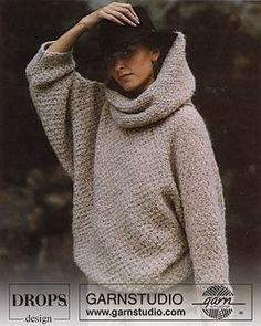 DROPS Knit Jumper with large turtle neck in moss stitch free pattern